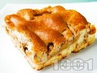 Рецепта Бърз, лесен и вкусен домашен ябълков сладкиш (кекс) с чаени бисквити, орехи, масло и канела